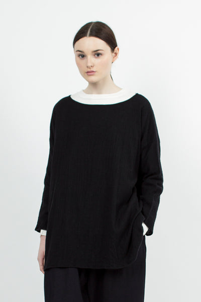 Navy/Black Oversized Boat Neck Shirt