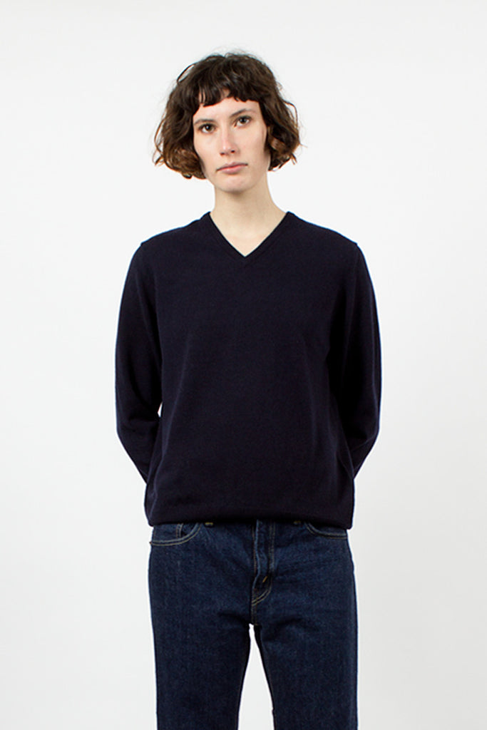 Navy Cashmere V-Neck