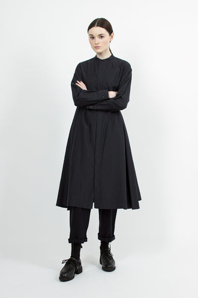 Black Navy Band Collar Shirt Dress