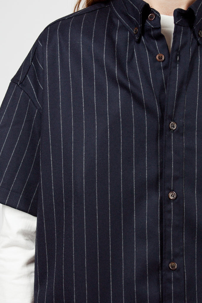 Navy Oversized Short Sleeve B.D. Shirt
