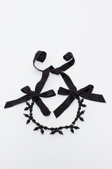 Black Flower Ribbon Necklace