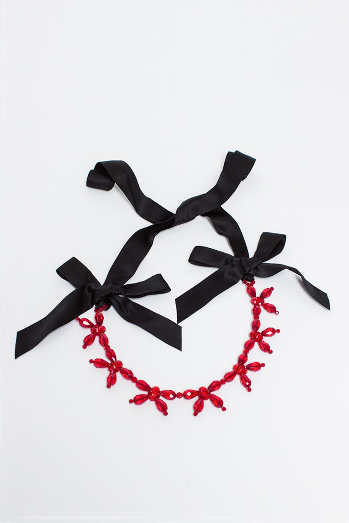 Red Flower Ribbon Necklace