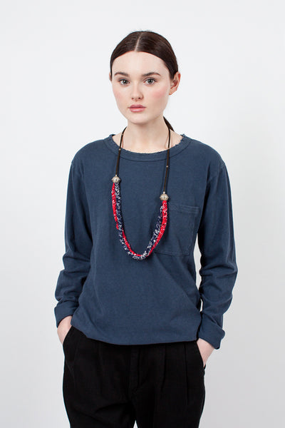 Red/Navy Woven Bandana Necklace