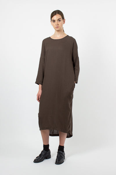 Charcoal Pleated Cocoon Dress