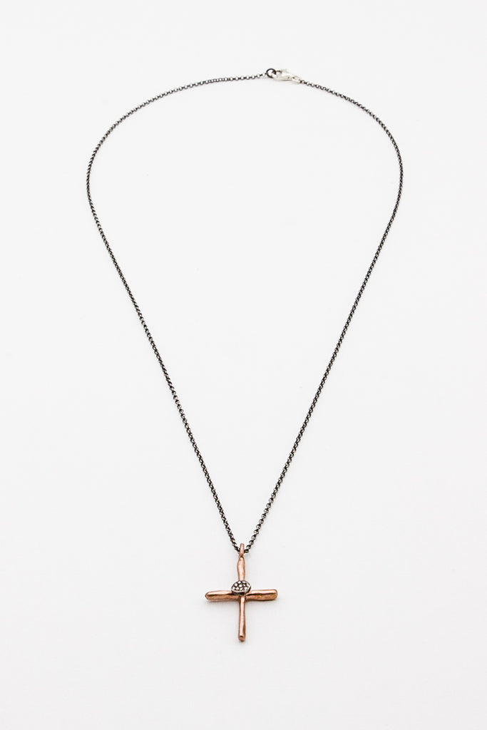 Eliot Silver/ Pink Gold With Cognac Diamond Necklace