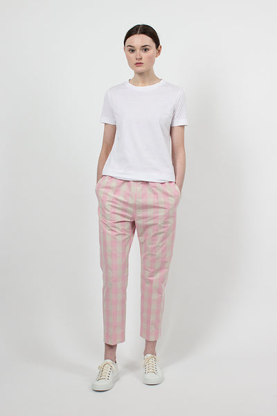 Piano Carrot Pants Rose/Cream Check