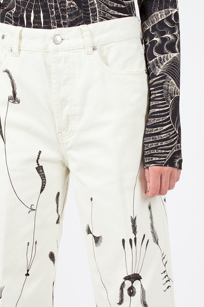 Feather Print Cropped Jean