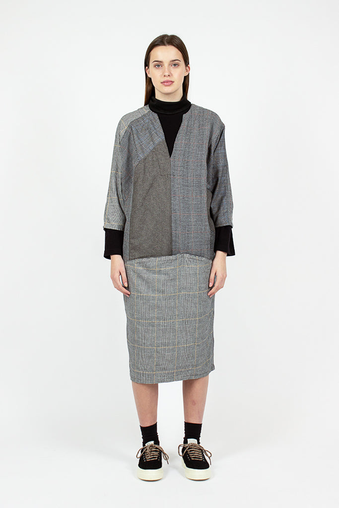 Woven Charcoal Check Dress