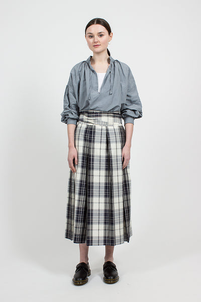 Navy Silk Maxi Plaid Pleated Skirt