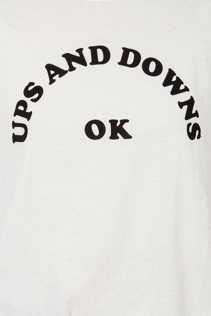 White 'UPS & DOWNS' Raglan T