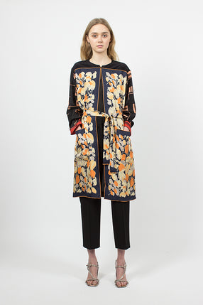 Printed Silk Coat Orange
