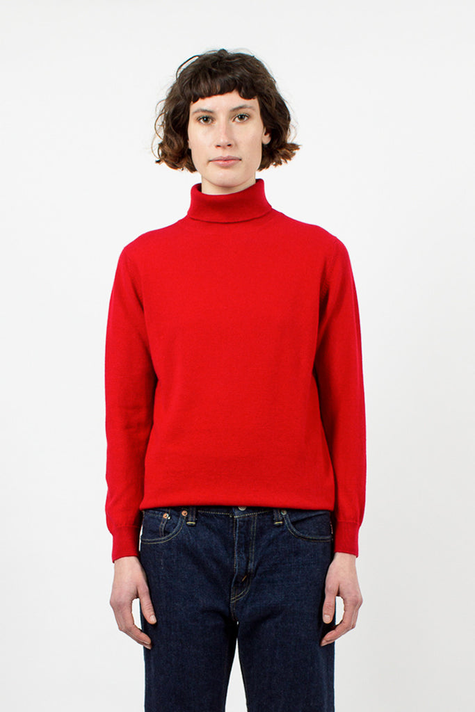Cardinal Red Cashmere Rollneck