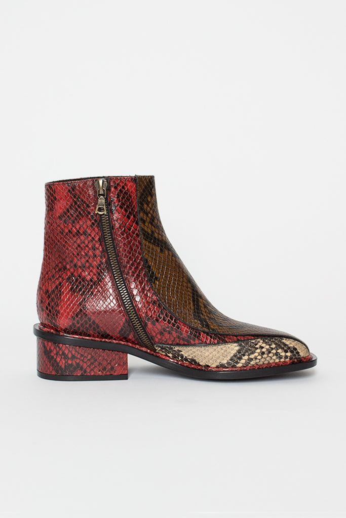 Dark Red Multi Snake Ankle Boot
