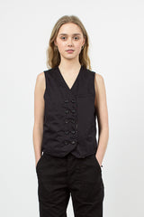 Black High Count Twill Reversible Vest