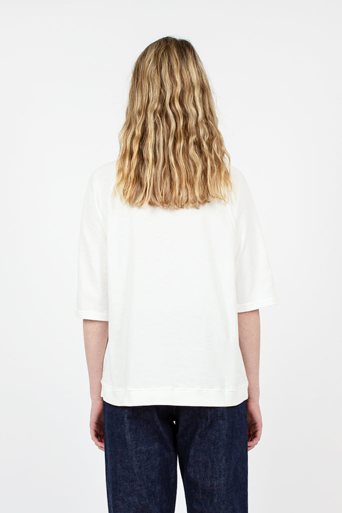 White Organic Cotton 1/2 Sleeve Sweatshirt