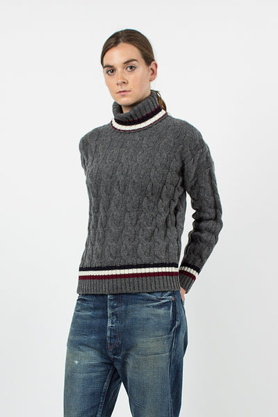 Grey Rodeen Cricket Cable Roll Neck