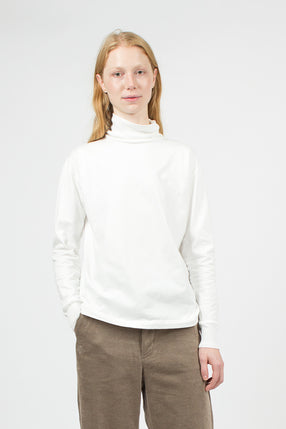 White Turtle Neck Loopwheeler Pullover