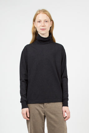 Heather Black Turtle Neck Loopwheeler Pullover