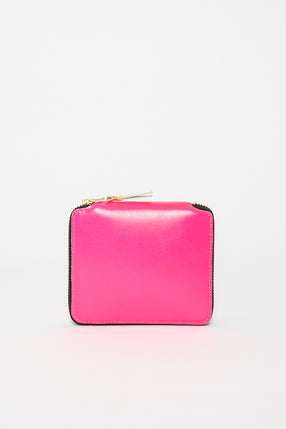 SA2100SF Leather Coin Wallet Pink Super Fluo