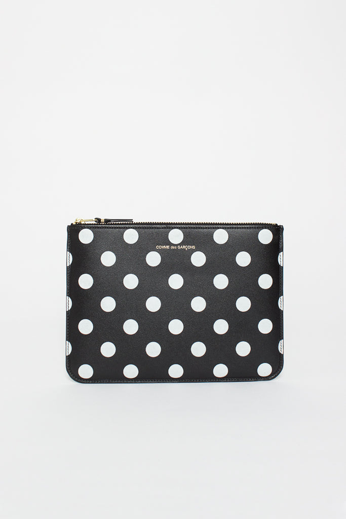 SA5100PD Black Leather Polka Dot Pouch
