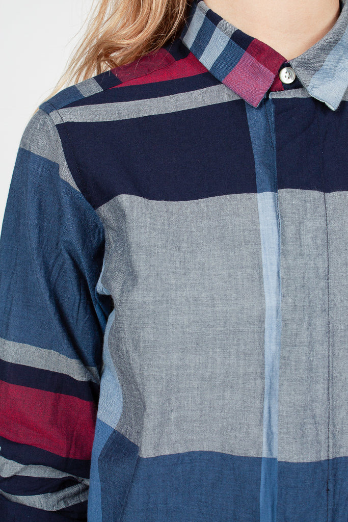 Short Collar Navy/Red Big Madras Plaid Shirt