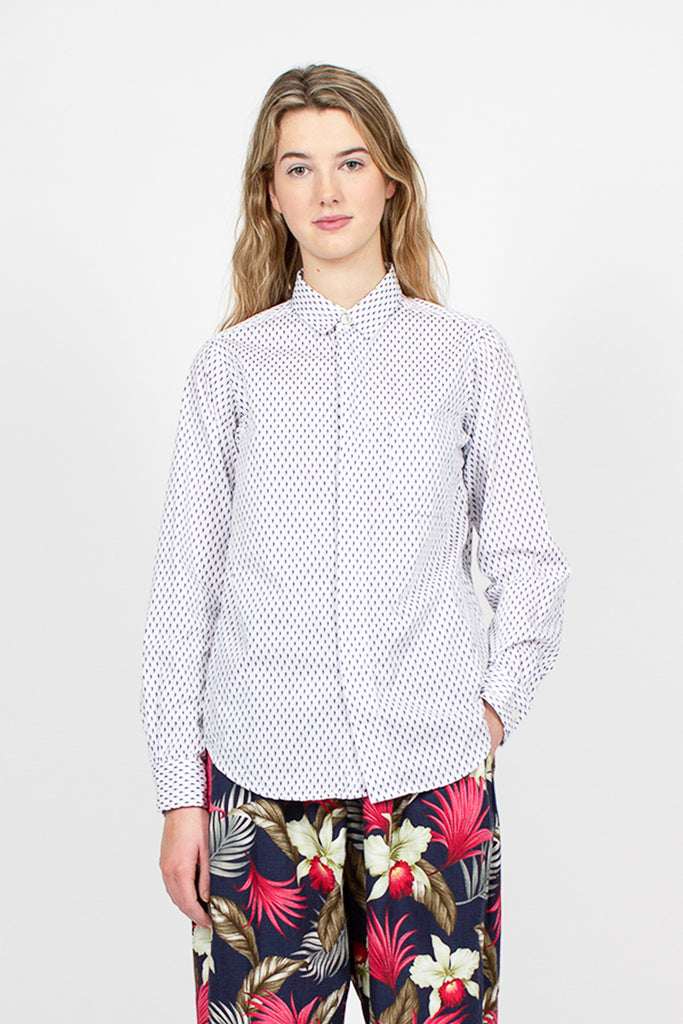 Short Collar Navy/White Seahorse Print Shirt