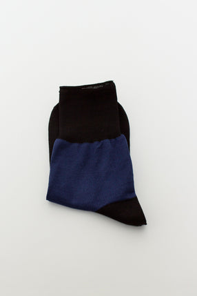 Fine Cotton Sock Black/Blu Marina