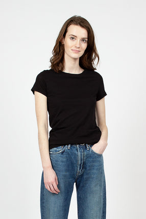 Black Organic Cotton Crew Neck Tee
