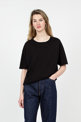 Black Organic Cotton Loose Crew Neck Tee