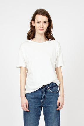 White Organic Cotton Loose Crew Neck Tee