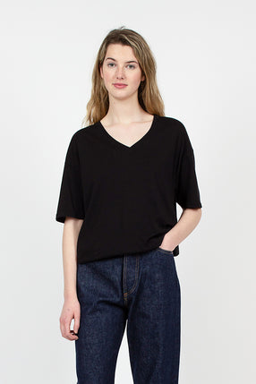 Black Organic Cotton Loose V-Neck Tee