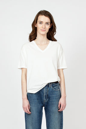 White Organic Cotton Loose V-Neck Tee