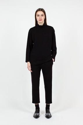 Black Wool STK Pant