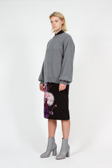 Black Floral Santon Skirt