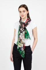 Grey Cotton Floral Scarf