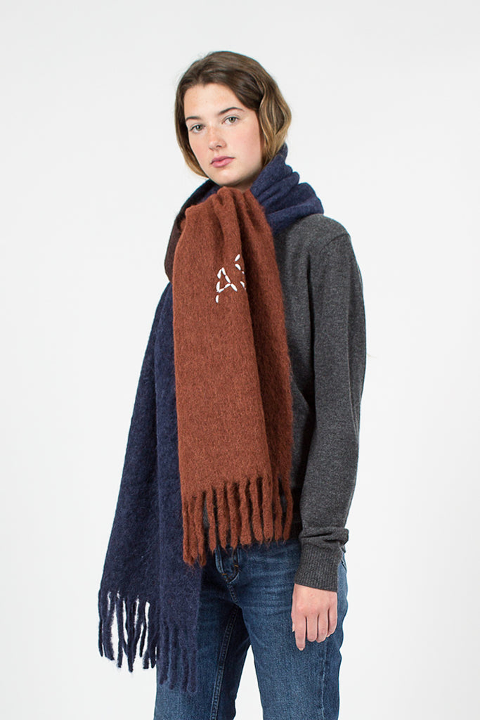 Navy and Tobacco Kelow Dye Scarf