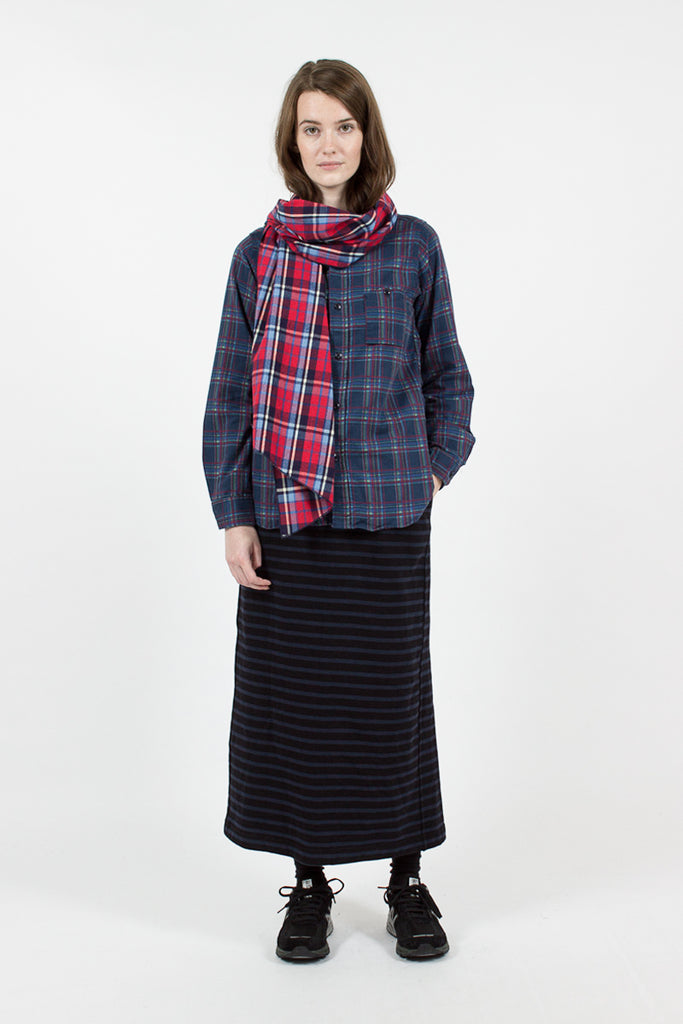 Red/Blue Brushed Plaid Long Scarf