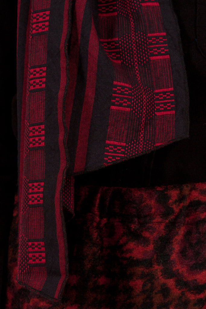 Red/Black Ethnic Jacquard Long Scarf