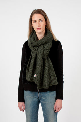 Dark Green Cable Knit Scarf