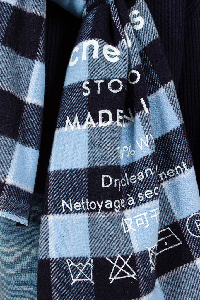 Blue Cassiar Check Scarf