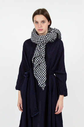 Navy Check Wool Shawl