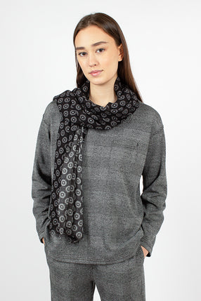 Dress Scarf Black/Grey Gauze Foulard