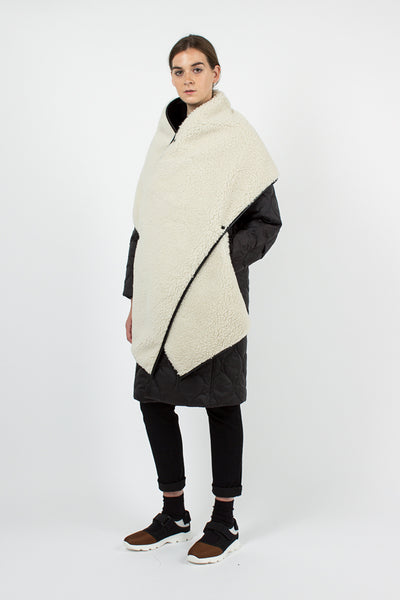 White Faux Shearling Stole