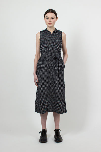 Navy Big Polka Dot Lawn Shirt Dress