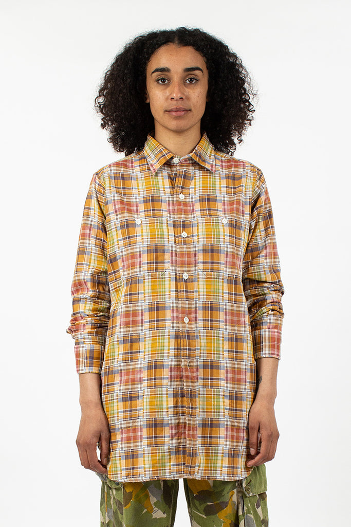 S-58 Big Check Shirt Yellow Madras Mix