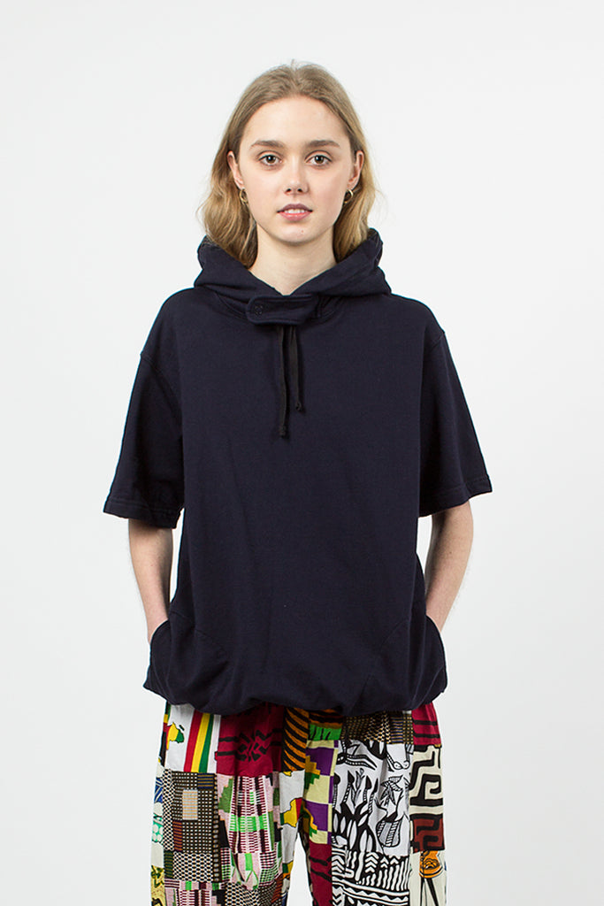 Dark Navy French Terry Short Sleeve Hoody