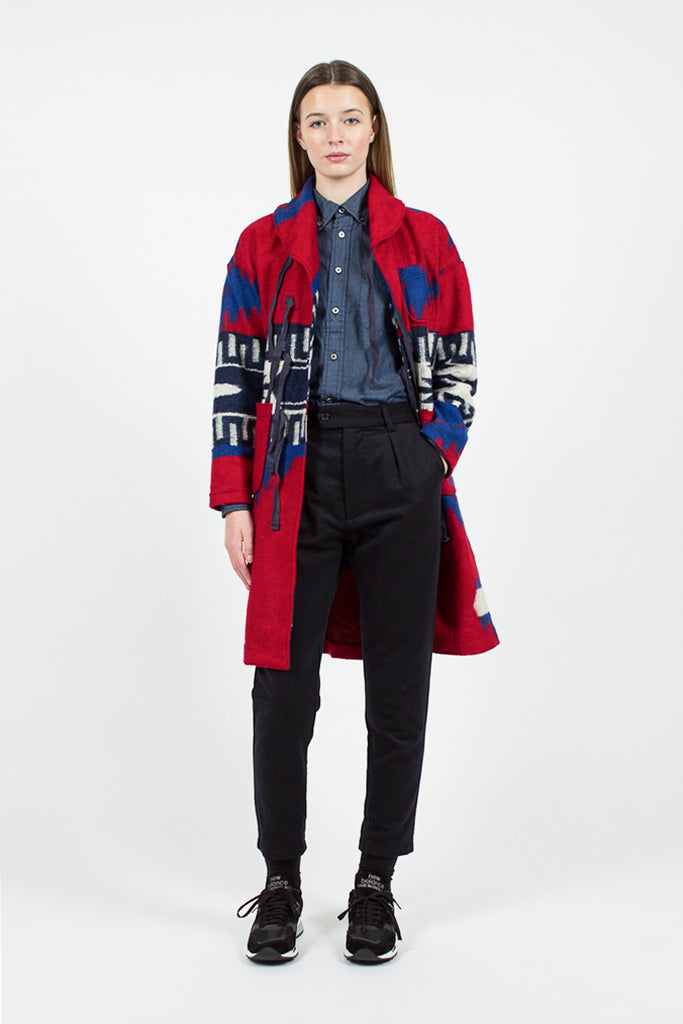 Red/Royal Navajo Knit Shawl Collar Jacket
