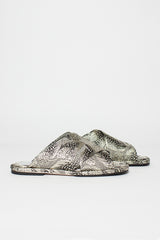 Metallic Feather Print Jacquard Mule