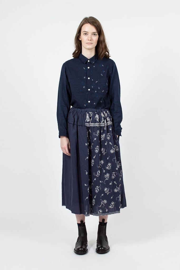 Navy Floral Embroidered Skirt