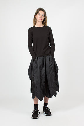 Curved Raw Hem Skirt